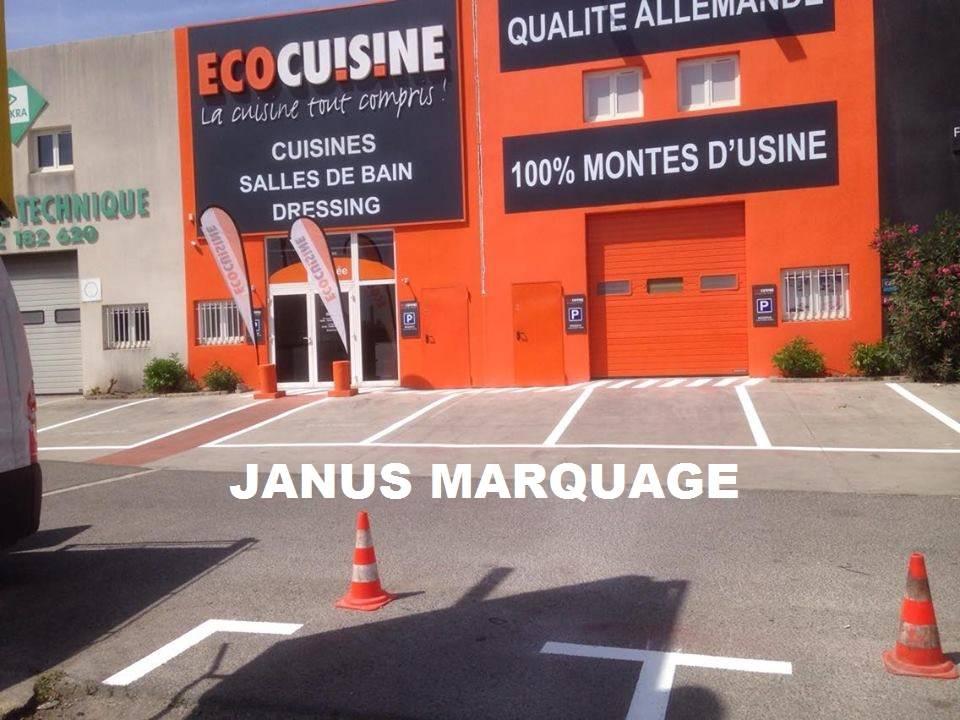 peinture au sol pour parking ext rieur zone des paluds aubagne marseille janus marquage. Black Bedroom Furniture Sets. Home Design Ideas
